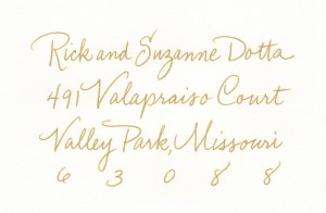 monoline GOLD copperplate address